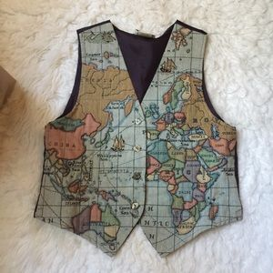 Vintage Map Vest By Mirrors.-I9.